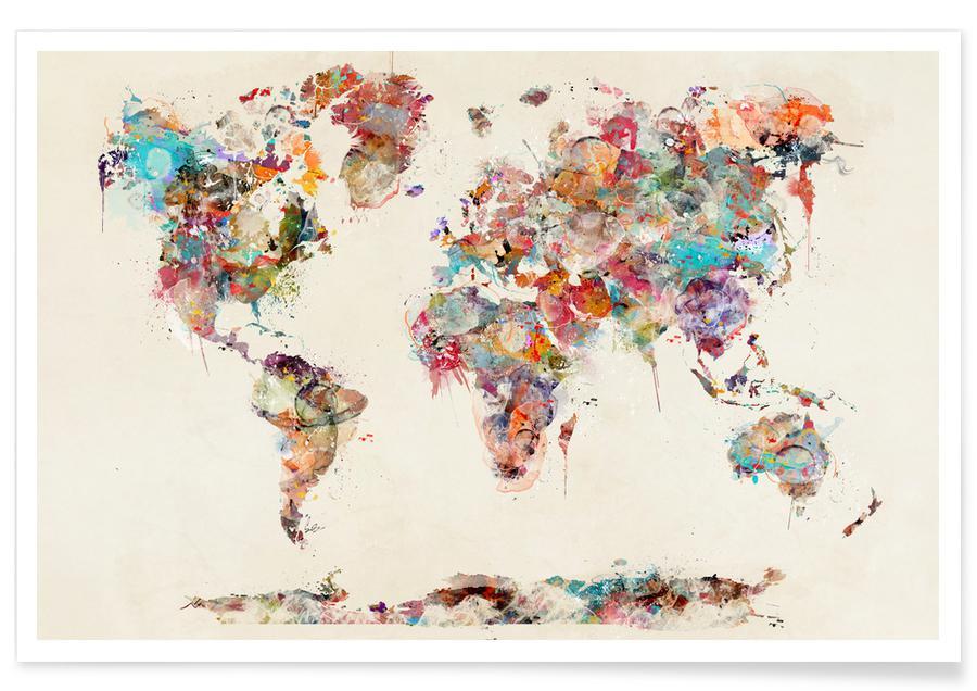 affiche carte du monde World Map Watercolor Poster | JUNIQE