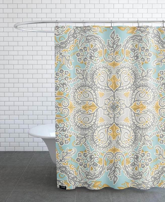 Floral Shower Curtain Teal
