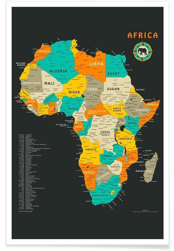 Bunte Afrika Landkarte Poster Juniqe