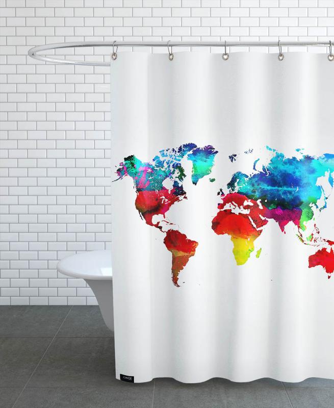 shower curtain map of world World Map Shower Curtain Juniqe
