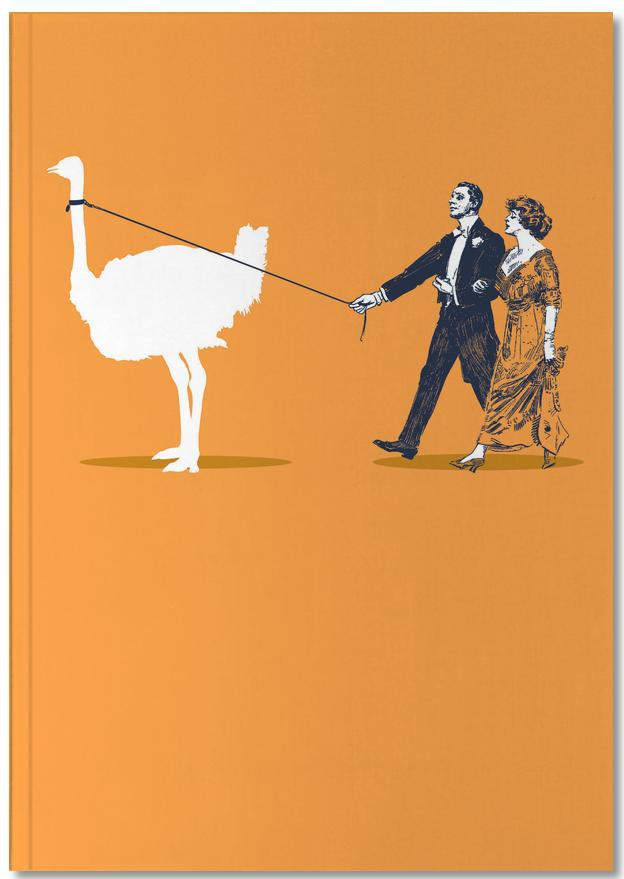 Notizbuch Vögel Walking The Ostrich von JUNIQE - Notizheft Design | Dekoration > Accessoires | JUNIQE