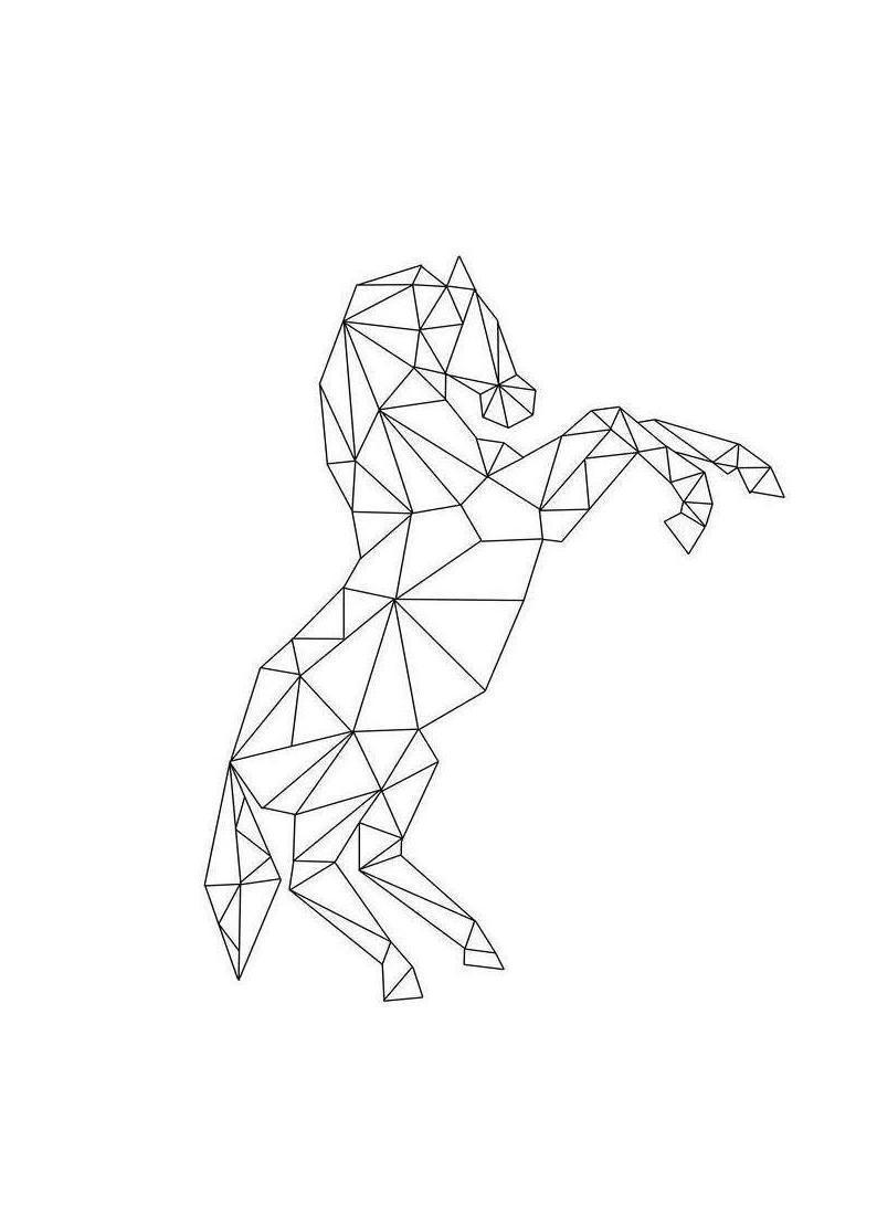 Pferde Leinwandbild - Geometric Horse | Schwarz/Weiß | Artist: RK Design | Dekoration > Bilder und Rahmen > Bilder | JUNIQE