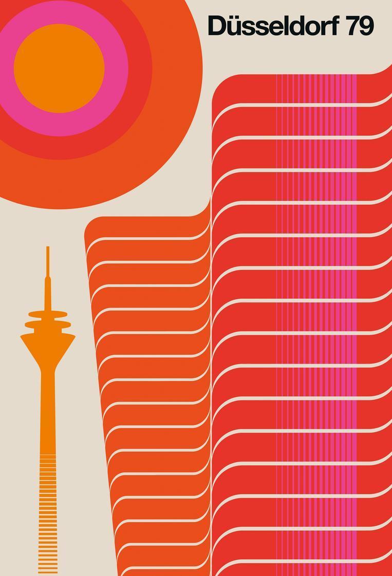 Retro Glasbild - Düsseldorf 79 | Orange/Rot | Artist: Bo Lundberg | Dekoration > Bilder und Rahmen > Bilder | JUNIQE