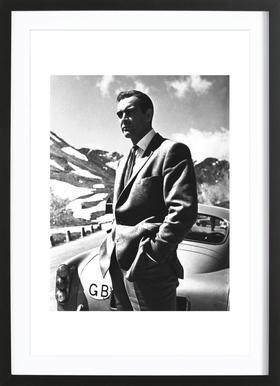 """Sean Connery """"Goldfinger"""" 1964 - Affiche sous cadre en bois"""