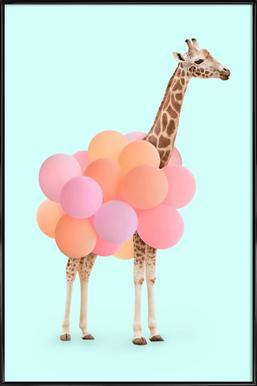 Party Giraffe - Poster im Kunststoffrahmen