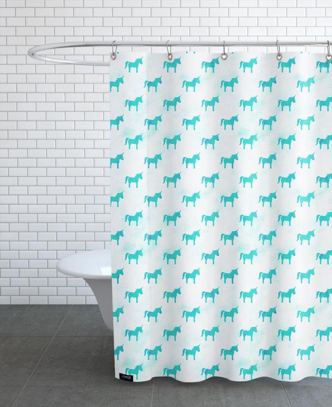 Unicorn Party Aqua Shower Curtain