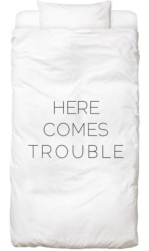 Birth & Babies, Black & White, Quotes & Slogans, Trouble Bed Linen