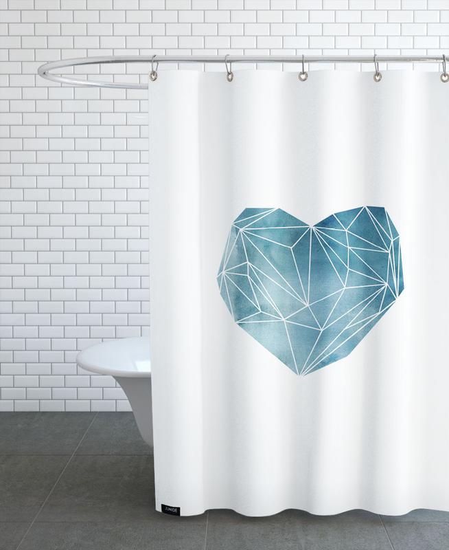 Herzen, Liebe & Jahrestage, Vatertag, Heart Graphic Watercolor Blue -Duschvorhang