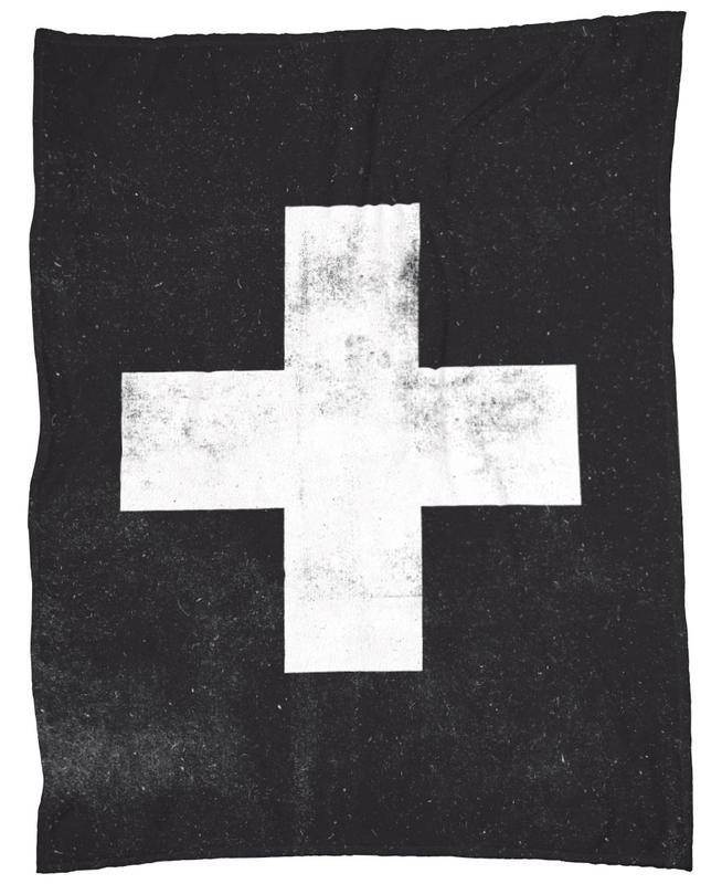 Swiss Cross Black Fleece Blanket