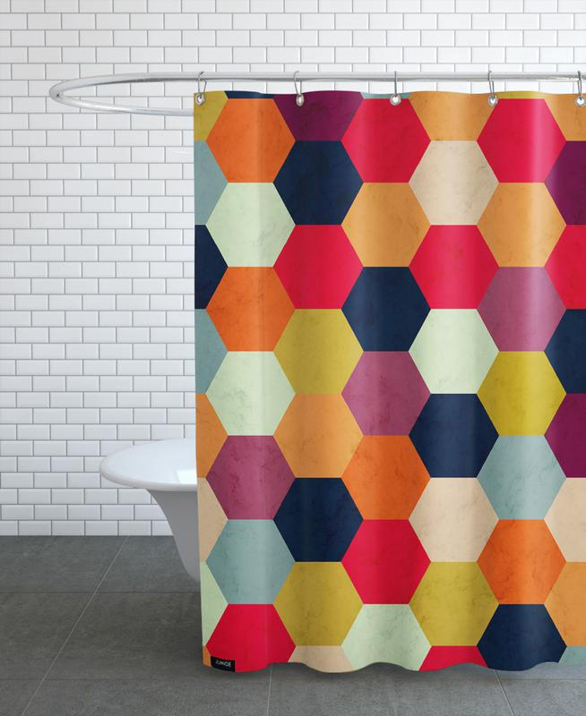 Colorful Beehive Pattern Shower Curtain