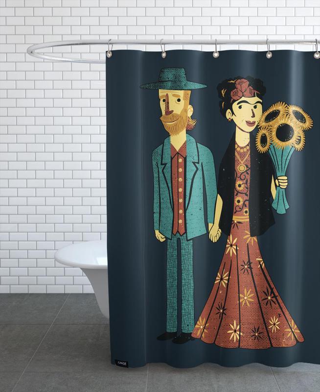 Frida Kahlo, Love Is Art Frida and Van Gogh Shower Curtain