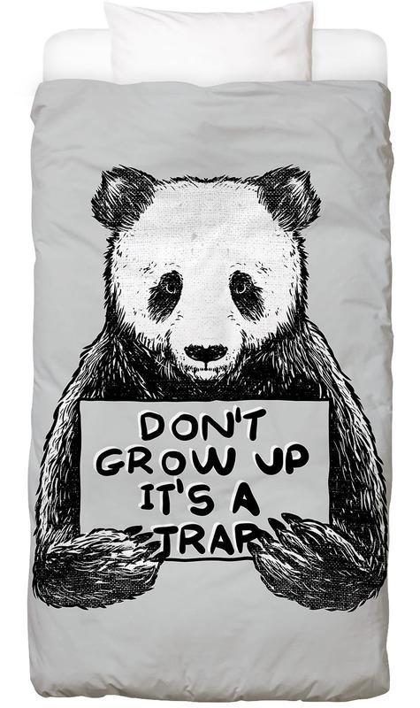 Noir & blanc, Pandas, Don't Grow up Linge de lit