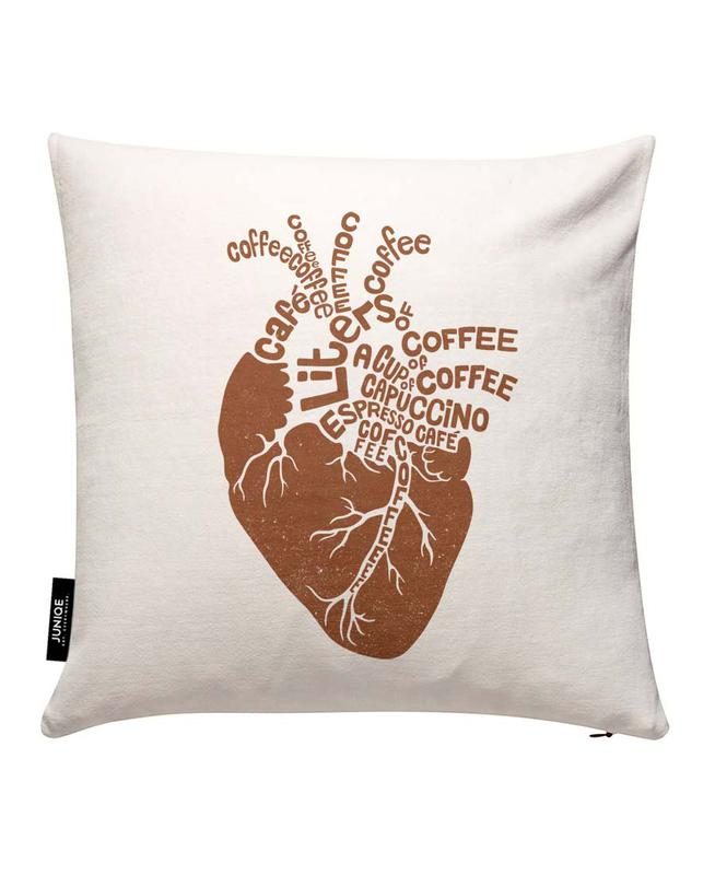 Coffee Lover Heart Cushion Cover