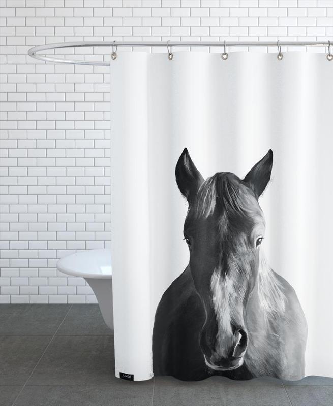 Kinderzimmer & Kunst für Kinder, Pferde, Schwarz & Weiß, Horse -Duschvorhang