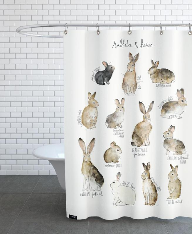 Lapins, Art pour enfants, Rabbits and Hares rideau de douche