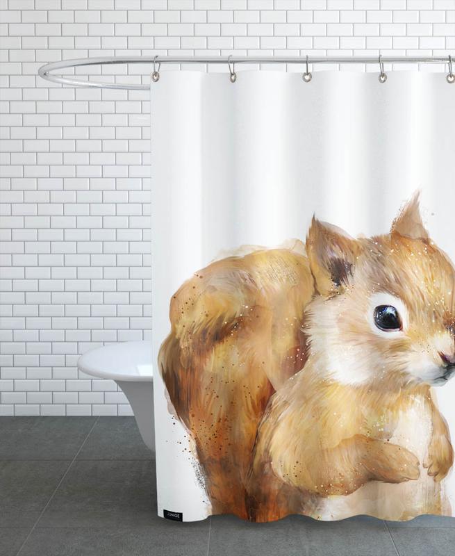 Eichhörnchen, Kinderzimmer & Kunst für Kinder, Little Squirrel -Duschvorhang