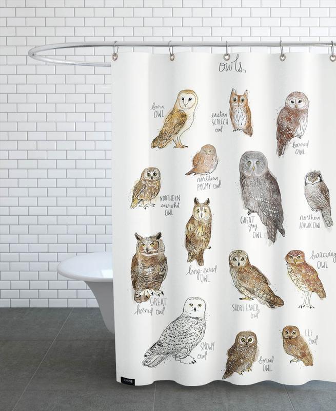 Chouettes, Art pour enfants, Owls rideau de douche