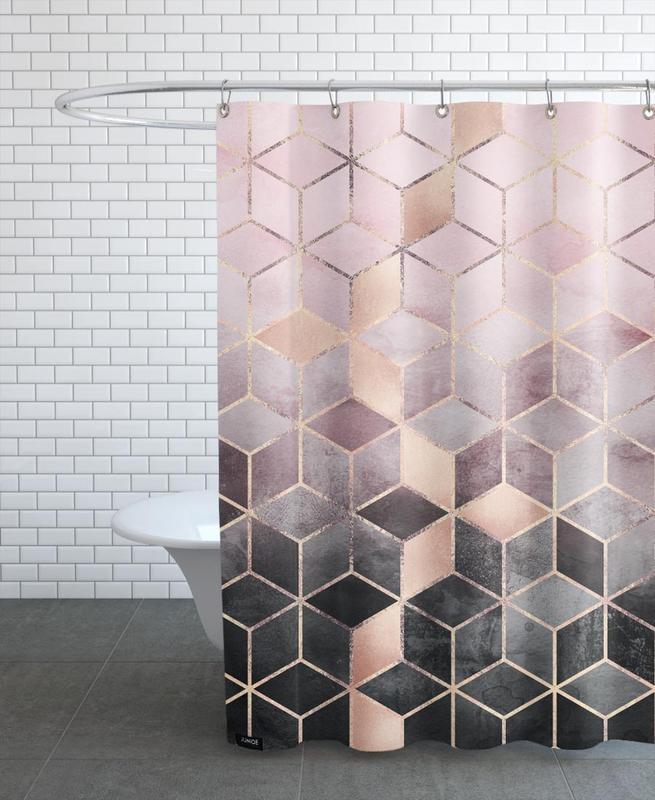 Pink Grey Gradient Cubes -Duschvorhang