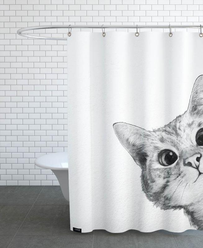 Noir & blanc, Art pour enfants, Chats, Sneaky Cat rideau de douche