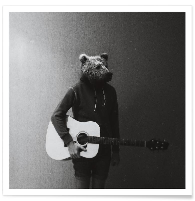 Noir & blanc, Créatures et hybrides, Animals in my room - Bear affiche