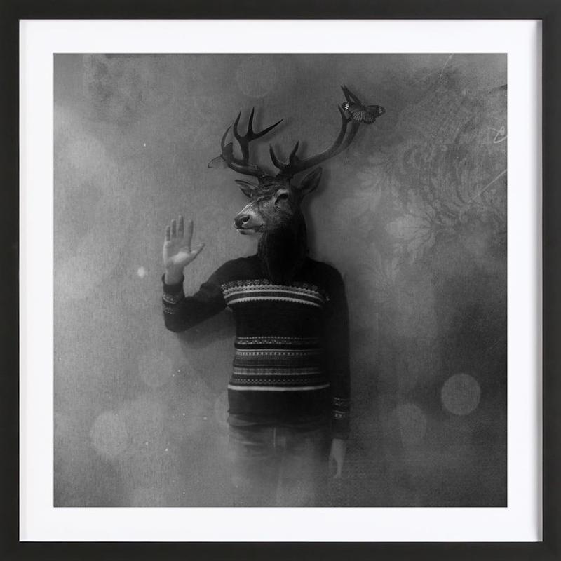 Animals in my room - Deer -Bild mit Holzrahmen