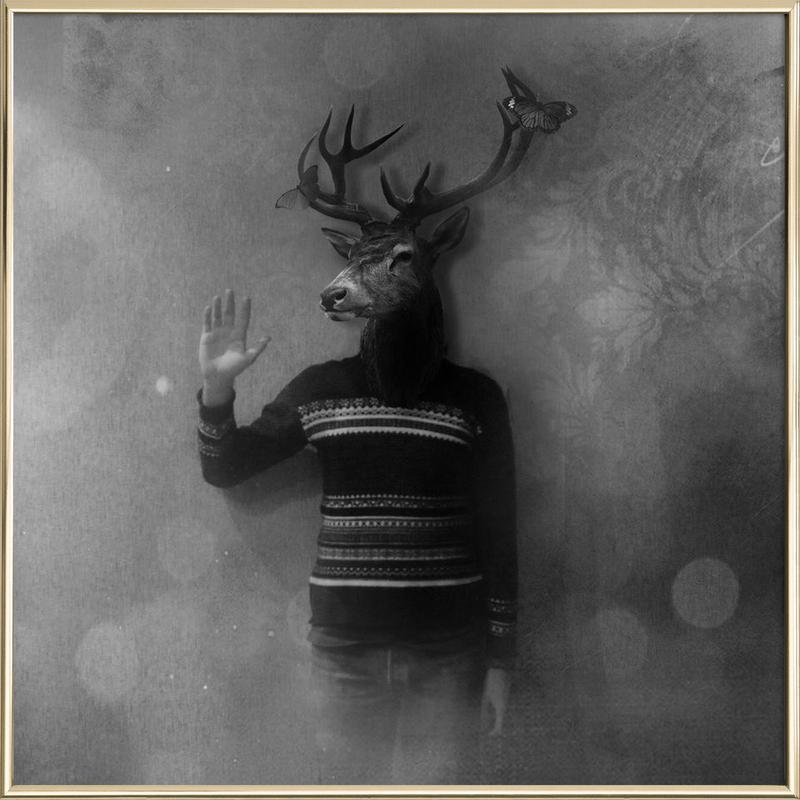 Animals in my room - Deer -Poster im Alurahmen