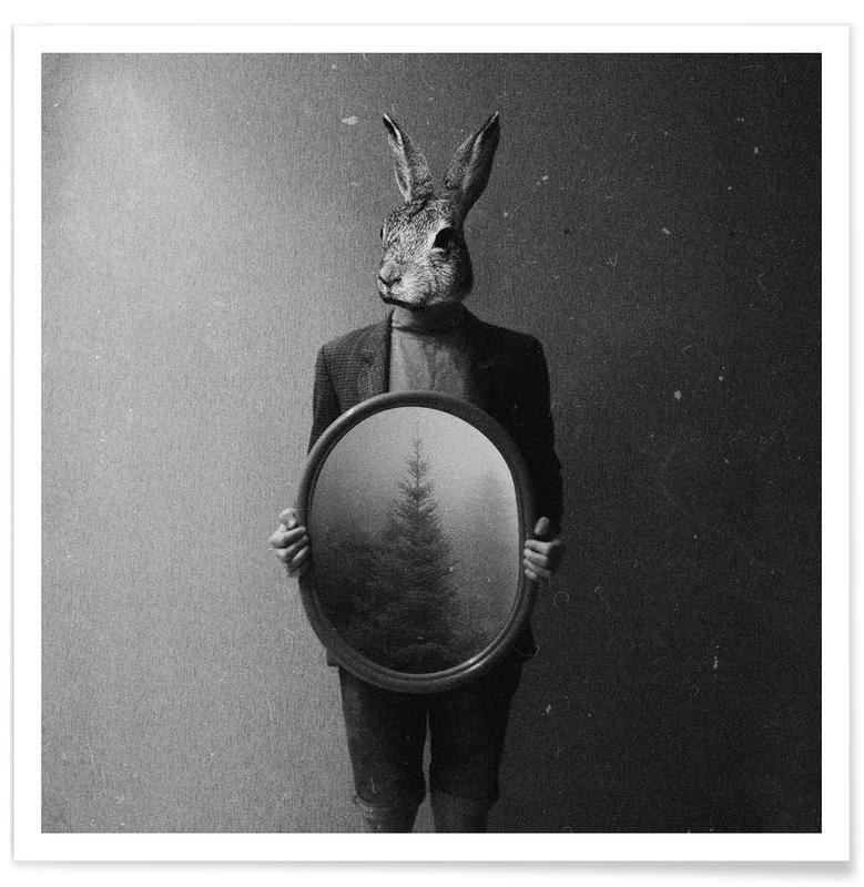 Noir & blanc, Créatures et hybrides, Animals in my room - Rabbit affiche