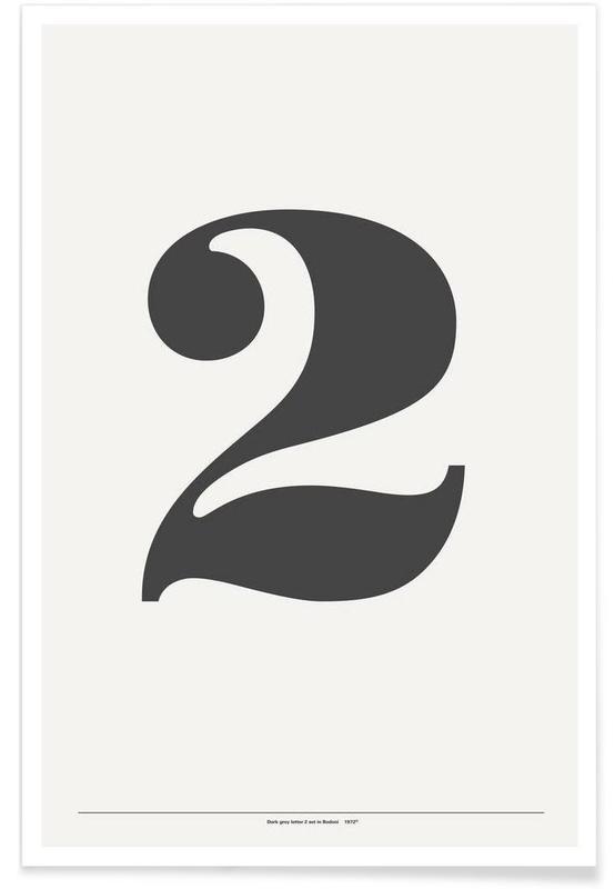 Noir & blanc, Nombres, The 2 Poster in grey affiche