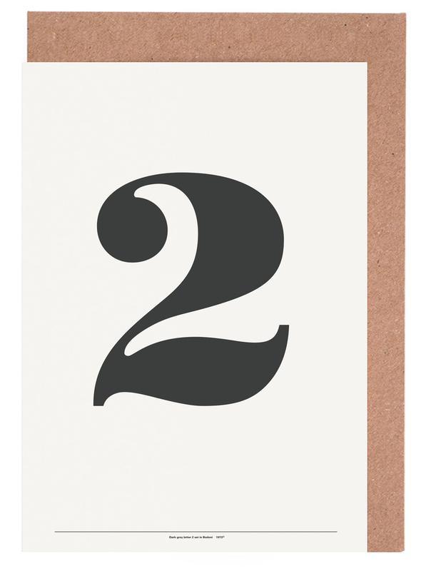 Zwart en wit, Cijfers, The 2 Poster in grey wenskaartenset