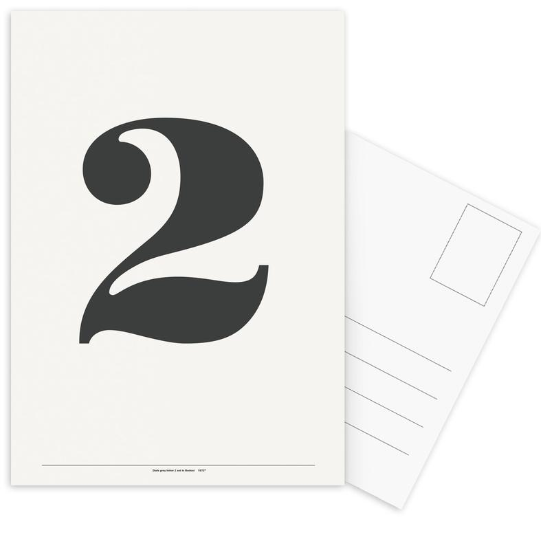 Zwart en wit, Cijfers, The 2 Poster in grey ansichtkaartenset