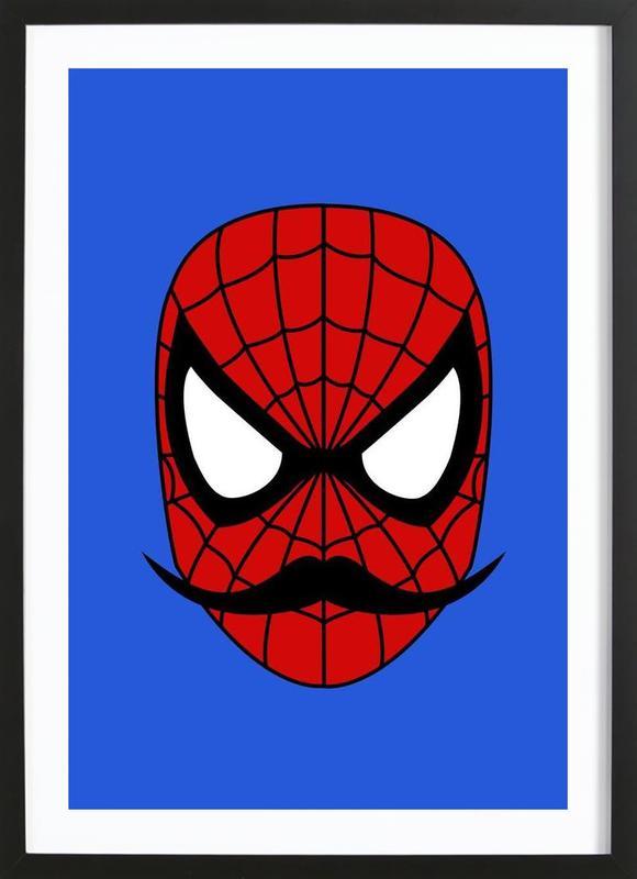 Spider Stache -Bild mit Holzrahmen