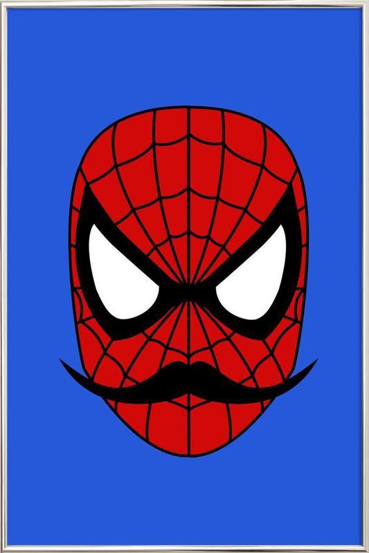Spider Stache -Poster im Alurahmen