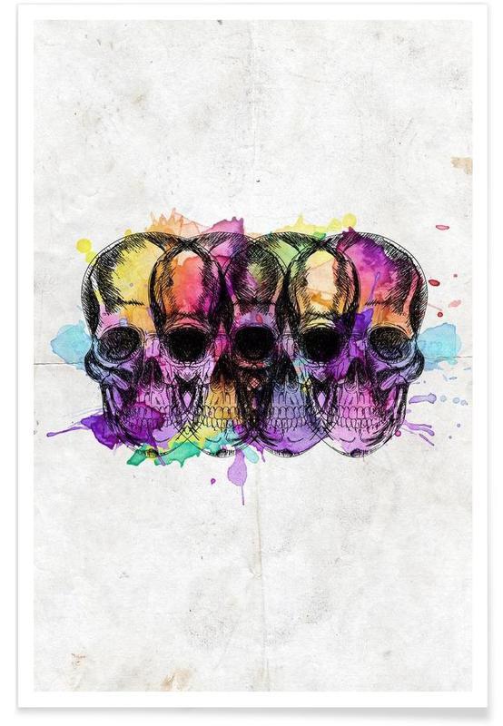 Crânes, Watercolor Skulls affiche