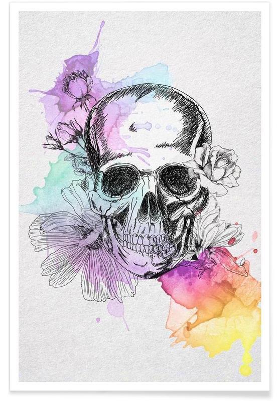 Color Skull Poster