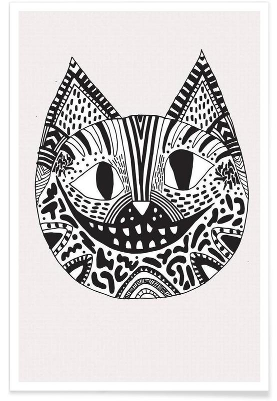 Noir & blanc, Chats, Cheshire cat affiche