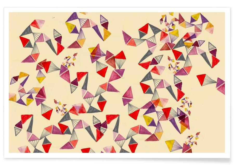 Watercolour triangles Poster