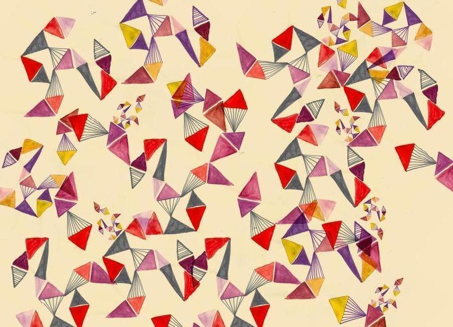 Watercolour triangles canvas doek