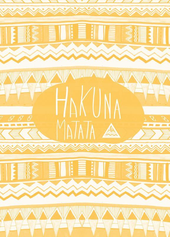 Hakuna Matata Yellow -Leinwandbild