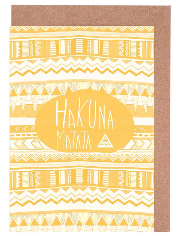 Hakuna Matata Yellow Greeting Card Set