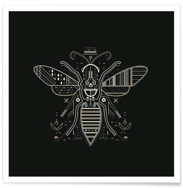 Abeilles, Noir & blanc, Zenith Wasp affiche