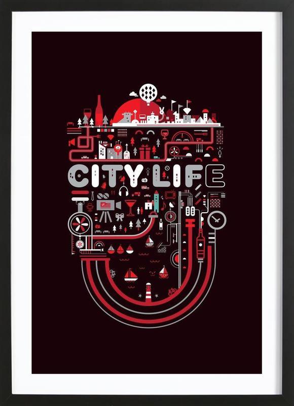 City Life -Bild mit Holzrahmen