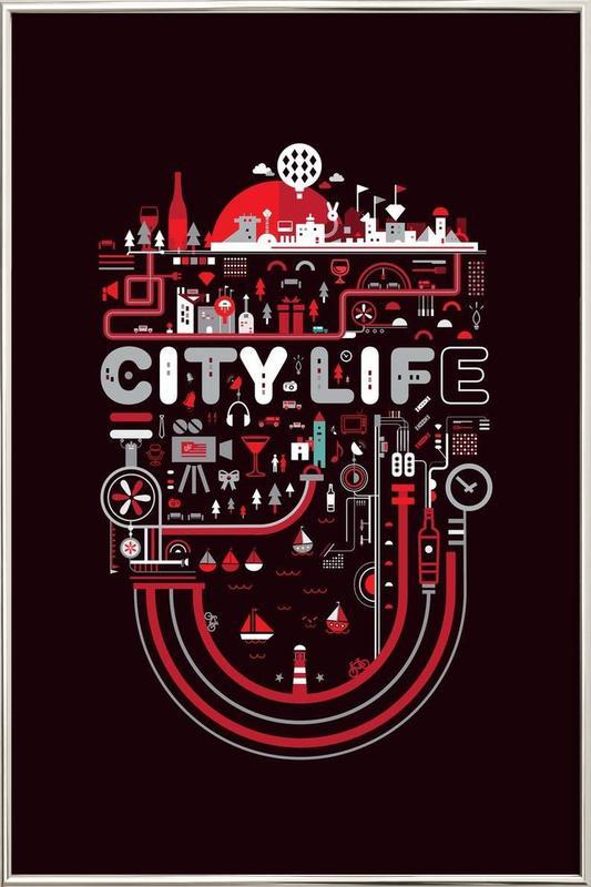 City Life -Poster im Alurahmen