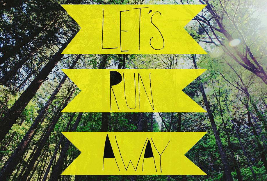 Let's Run Away - to the forest Aluminium Print