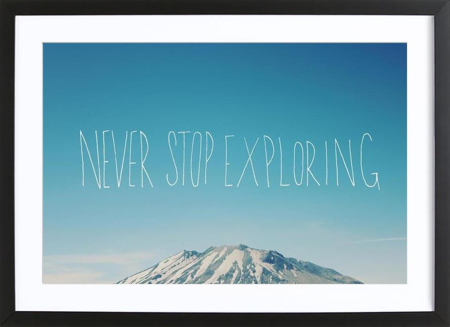 Never Stop Exploring ingelijste print