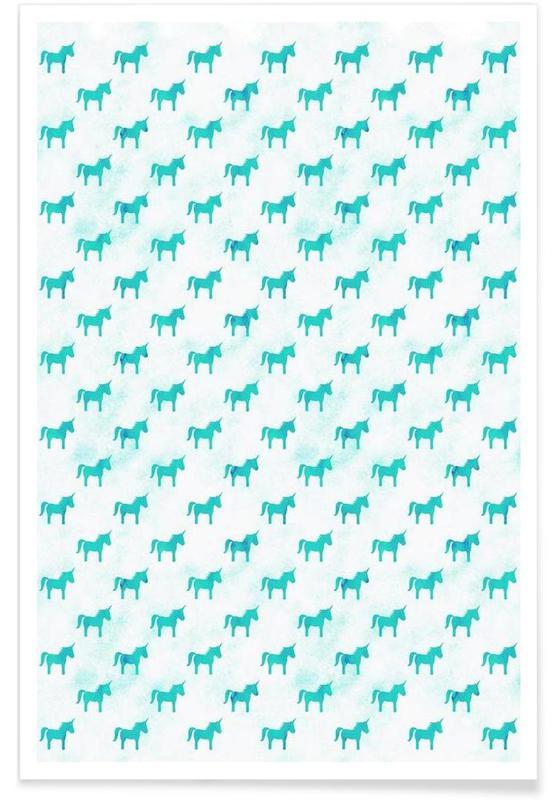 Art pour enfants, Licornes, Unicorn Party Aqua affiche