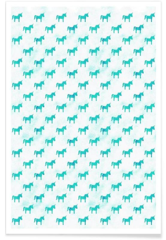 Nursery & Art for Kids, Unicorns, Unicorn Party Aqua Poster
