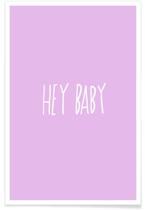 Quotes en slogans, Jubileums en liefde, Valentijnsdag, Hey Baby Pink poster