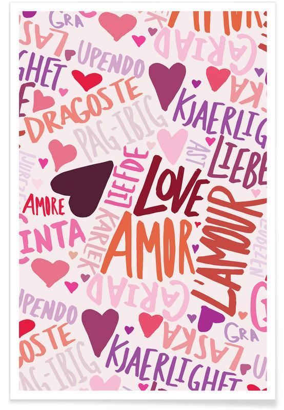 Cœurs, Citations et slogans, Anniversaires de mariage et amour, Saint-Valentin, Love Languages affiche