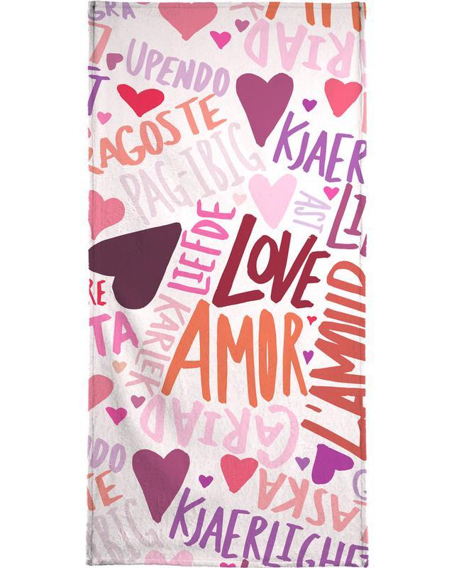 Jubileums en liefde, Quotes en slogans, Valentijnsdag, Harten, Love Languages strandlaken