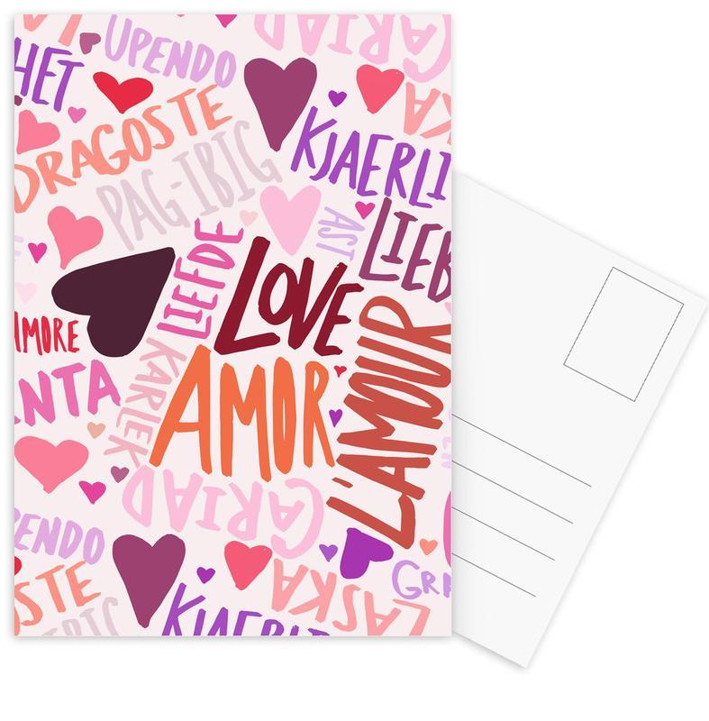 Anniversaries & Love, Hearts, Valentine's Day, Quotes & Slogans, Love Languages Postcard Set